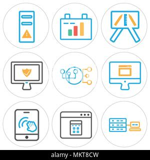 Set Of 9 simple editable icons such as Networking, Browser, Smartphone, Laptop, Hierarchical structure, Presentation, Clipboard, Tower, can be used fo - Stock Photo