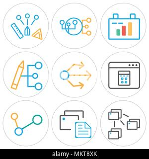 Set Of 9 simple editable icons such as File, Clipboard, Share, Browser, Usb, Hierarchical structure, , can be used for mobile, web - Stock Photo