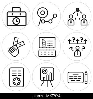 Set Of 9 simple editable icons such as Agreement, Presentation, Policy, Question, Website, Investment, Leader, Analysis, Briefcase, can be used for mo - Stock Photo