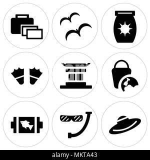 Set Of 9 simple editable icons such as Straw Hat, Diver Snorkel and Glasses, Fish On Barbecue, Sand Bucket, Chinese temple, Two Flippers, Sun Block, T - Stock Photo