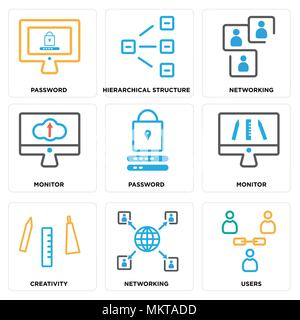 Set Of 9 simple editable icons such as Users, Networking, Creativity, Monitor, Password, Hierarchical structure, can be used for mobile, web - Stock Photo