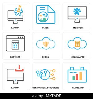 Set Of 9 simple editable icons such as Clipboard, Hierarchical structure, Laptop, Calculator, Shield, Browser, Monitor, Image, can be used for mobile, - Stock Photo