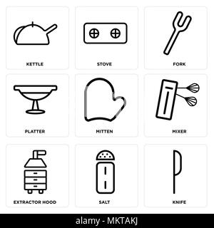 Set Of 9 simple editable icons such as Knife, Salt, Extractor hood, Mixer, Mitten, Platter, Fork, Stove, Kettle, can be used for mobile, web - Stock Photo