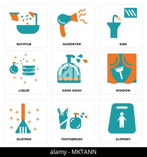 Set Of 9 simple editable icons such as Slippery, Toothbrush, Dustpan, Window, Hand wash, Liquid, Sink, Hairdryer, Bathtub, can be used for mobile, web - Stock Photo