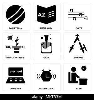 Set Of 9 simple editable icons such as Exam, Alarm clock, Computer, Compass, Flask, Photosynthesis, Flute, Dictionary, Basketball, can be used for mob - Stock Photo