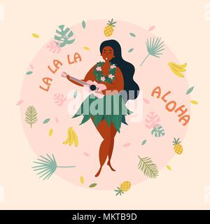 Hula singer hawaiian girl with ukulele. Luau - Stock Photo