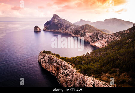 Cap Formentor at sunrise, Mallorca - Stock Photo