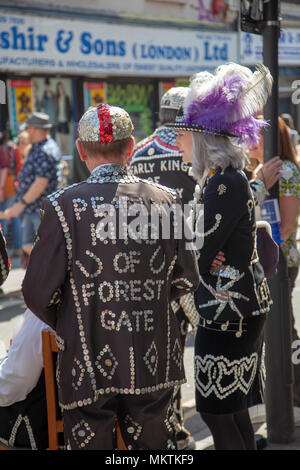 Pearly Kings and Queens Raise Money on Brick Lane in Shoreditch, London UK - Stock Photo