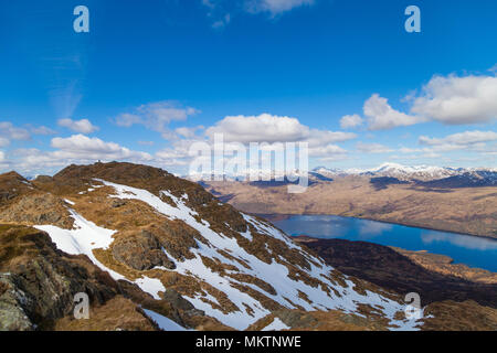 Looking down to Loch Katrine from the top of ben Venue, Trossachs Scotland - Stock Photo