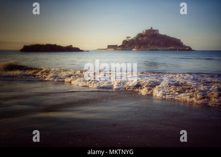 Low angle view of St. Michael's Mount from Marazion - John Gollop - Stock Photo