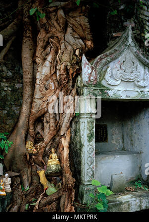 Buddhist shrine of Wat Saket Ratcha Wora Maha Wihan Golden Mountain Temple in Bangkok in Thailand in Southeast Asia Far East. Mount Travel - Stock Photo