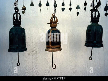 Temple bells at a Buddhist shrine at the Wat Saket Golden Mount Temple in Bangkok in Thailand in Southeast Asia Far East. Mountain Bell Travel - Stock Photo