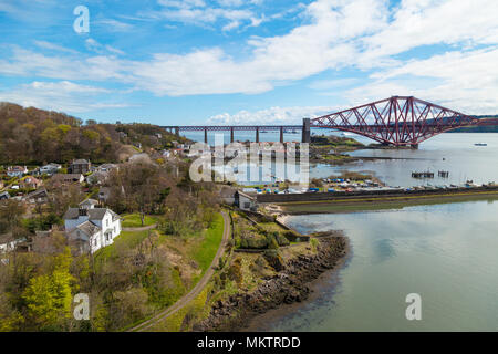 North Queensferry seen from the Forth Road Bridge, Fife Scotland - Stock Photo
