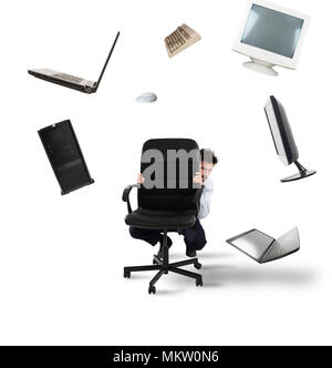 Businessman has fear of computers and technology - Stock Photo