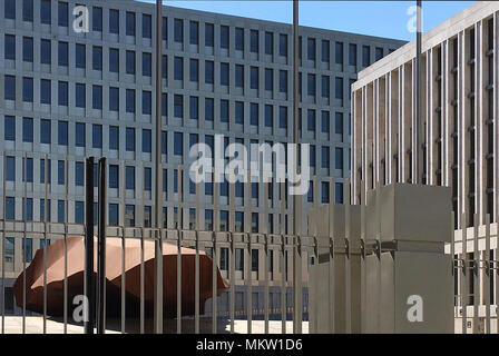 Main entrance of the new Headquarters of the German Federal Intelligence Service Bundesnachrichtendienst BND in the German capital Berlin on the Chaus - Stock Photo