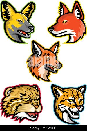 Sports mascot icon set of heads of wild dogs and cats like the African wild dog or painted hunting dog, dhole or Asiatic wild dog, maned wolf, manul o - Stock Photo