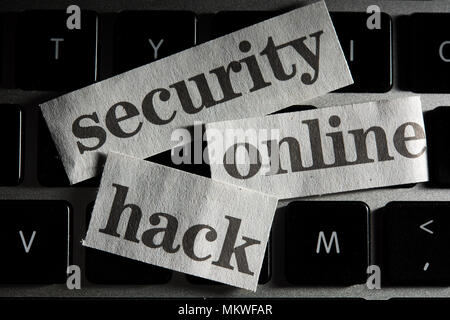 An Online Security Concept with cut out words from newspaper, newspring - Stock Photo