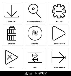 Set Of 9 simple editable icons such as Right arrow, Sort, Cross, Play button, Hashtag, Garbage, Settings, Magnifying glass, Download, can be used for  - Stock Photo