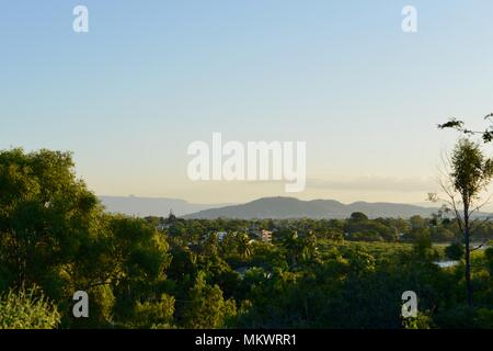 Mount Marlow and Belgian gardens as seen from Kissing point fort, Jezzine barracks, Kissing point fort, Townsville Queensland, Australia - Stock Photo
