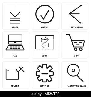 Set Of 9 simple editable icons such as Magnifying glass, Settings, Folder, Shop, Sort, Mac, Left arrow, Check, Order, can be used for mobile, web - Stock Photo