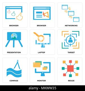 Set Of 9 simple editable icons such as Resize, Monitor, Compass, Target, Laptop, Presentation, Networking, Browser, can be used for mobile, web - Stock Photo