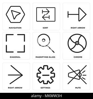 Set Of 9 simple editable icons such as Mute, Settings, Right arrow, Chrome, Magnifying glass, Diagonal, Sort, Navigation, can be used for mobile, web - Stock Photo
