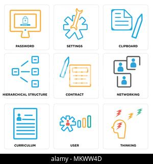 Set Of 9 simple editable icons such as Thinking, User, Curriculum, Networking, Contract, Hierarchical structure, Clipboard, Settings, Password, can be - Stock Photo
