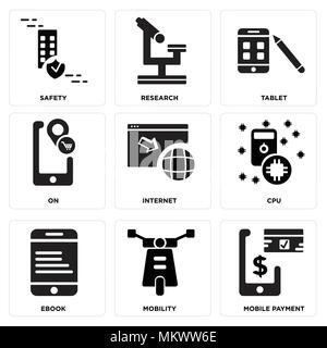 Set Of 9 simple editable icons such as Mobile payment, Mobility, Ebook, Cpu, Internet, On, Tablet, Research, Safety, can be used for mobile, web - Stock Photo