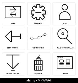 Set Of 9 simple editable icons such as Menu, Garbage, Down arrow, Magnifying glass, Connection, Left User, Settings, Sort, can be used for mobile, web - Stock Photo