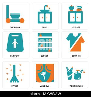 Set Of 9 simple editable icons such as Toothbrush, Window, Sweep, Clothes, Closet, Slippery, Sink, Cleaning, can be used for mobile, web - Stock Photo