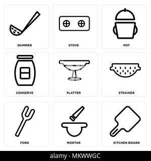 Set Of 9 simple editable icons such as Kitchen board, Mortar, Fork, Strainer, Platter, Conserve, Pot, Stove, Skimmer, can be used for mobile, web - Stock Photo