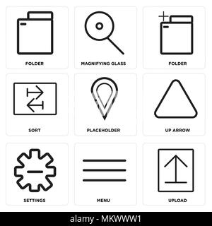 Set Of 9 simple editable icons such as Upload, Menu, Settings, Up arrow, Placeholder, Sort, Folder, Magnifying glass, can be used for mobile, web - Stock Photo