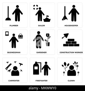 Set Of 9 simple editable icons such as Clown, Firefighter, Carpenter, Construction worker, Gardener, Businessman, housekeeper, Sailor, Plumber, can be - Stock Photo