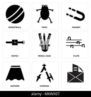 Set Of 9 simple editable icons such as Compass, Uniform, Flute, Pencil case, Watch, Magnet, Frog, Basketball, can be used for mobile, web - Stock Photo
