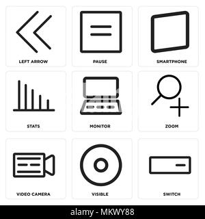Set Of 9 simple editable icons such as Switch, Visible, Video camera, Zoom, Monitor, Stats, Smartphone, Pause, Left arrow, can be used for mobile, web - Stock Photo