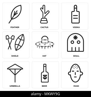 Set Of 9 simple editable icons such as Mask, Beer, Umbrella, Skull, Hat, Shield, Vodka, Cactus, Feather, can be used for mobile, web - Stock Photo