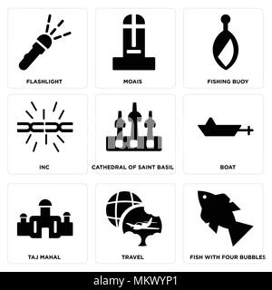 Set Of 9 simple editable icons such as Fish with Four bubbles, Travel, Taj mahal, Boat, Cathedral of saint basil, Inc, Fishing Buoy, Moais, Flashlight - Stock Photo