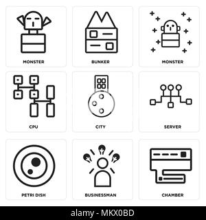 Set Of 9 simple editable icons such as Chamber, Businessman, Petri dish, Server, City, Cpu, Monster, Bunker, can be used for mobile, web - Stock Photo