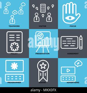 Set Of 9 simple editable icons such as Advertising, Award, Programmer, Agreement, Presentation, Policy, Focus, Visitor, Teamwork, can be used for mobi - Stock Photo