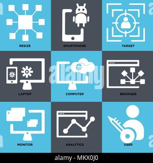 Set Of 9 simple editable icons such as User, Analytics, Monitor, Browser, Computer, Laptop, Target, Smartphone, Resize, can be used for mobile, web - Stock Photo