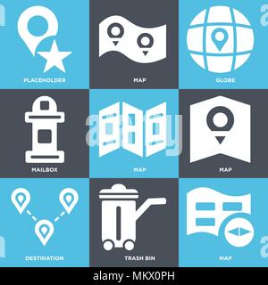 Set Of 9 simple editable icons such as Map, Trash bin, Destination, Mailbox, Globe, Placeholder, can be used for mobile, web - Stock Photo