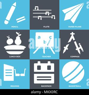 Set Of 9 simple editable icons such as Basketball, Backpack, Reading, Compass, Teacher, Lunch box, Paper plane, Flute, Pencil, can be used for mobile, - Stock Photo