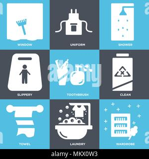 Set Of 9 simple editable icons such as Wardrobe, Laundry, Towel, Clean, Toothbrush, Slippery, Shower, Uniform, Window, can be used for mobile, web - Stock Photo