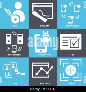 Set Of 9 simple editable icons such as Expand, Analytics, User, File, Smartphone, Browser, can be used for mobile, web - Stock Photo