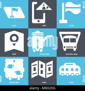 Set Of 9 simple editable icons such as Bus, Map, Trash bin, School bus, Flag, Gps, can be used for mobile, web - Stock Photo
