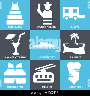 Set Of 9 simple editable icons such as Women Bikini, Cable car, Reflector vest, Palm tree, Ship Front View, Limonade with Drop, Caravan, Statue of lib - Stock Photo