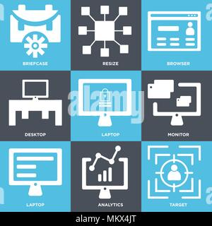 Set Of 9 simple editable icons such as Target, Analytics, Laptop, Monitor, Desktop, Browser, Resize, Briefcase, can be used for mobile, web - Stock Photo