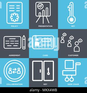 Set Of 9 simple editable icons such as Desk chair, Key, Collaboration, Customer, Card, Agreement, Presentation, Policy, can be used for mobile, web - Stock Photo