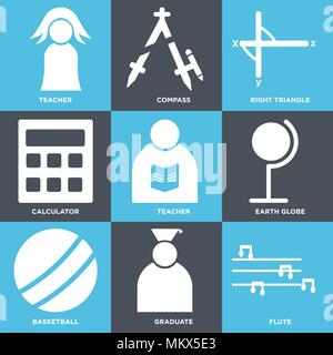 Set Of 9 simple editable icons such as Flute, Graduate, Basketball, Earth globe, Teacher, Calculator, Right triangle, Compass, can be used for mobile, - Stock Photo