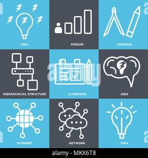 Set Of 9 simple editable icons such as Idea, Network, Internet, Clipboard, Hierarchical structure, Compass, Podium, can be used for mobile, web - Stock Photo
